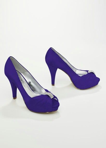 Satin Pleated Low Heel Purple Bridesmaid Shoes Online