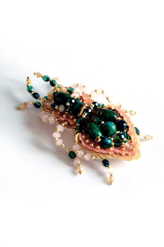 Beetle brooch READY to ship Nature jewelry by BeadedNatureJewelry