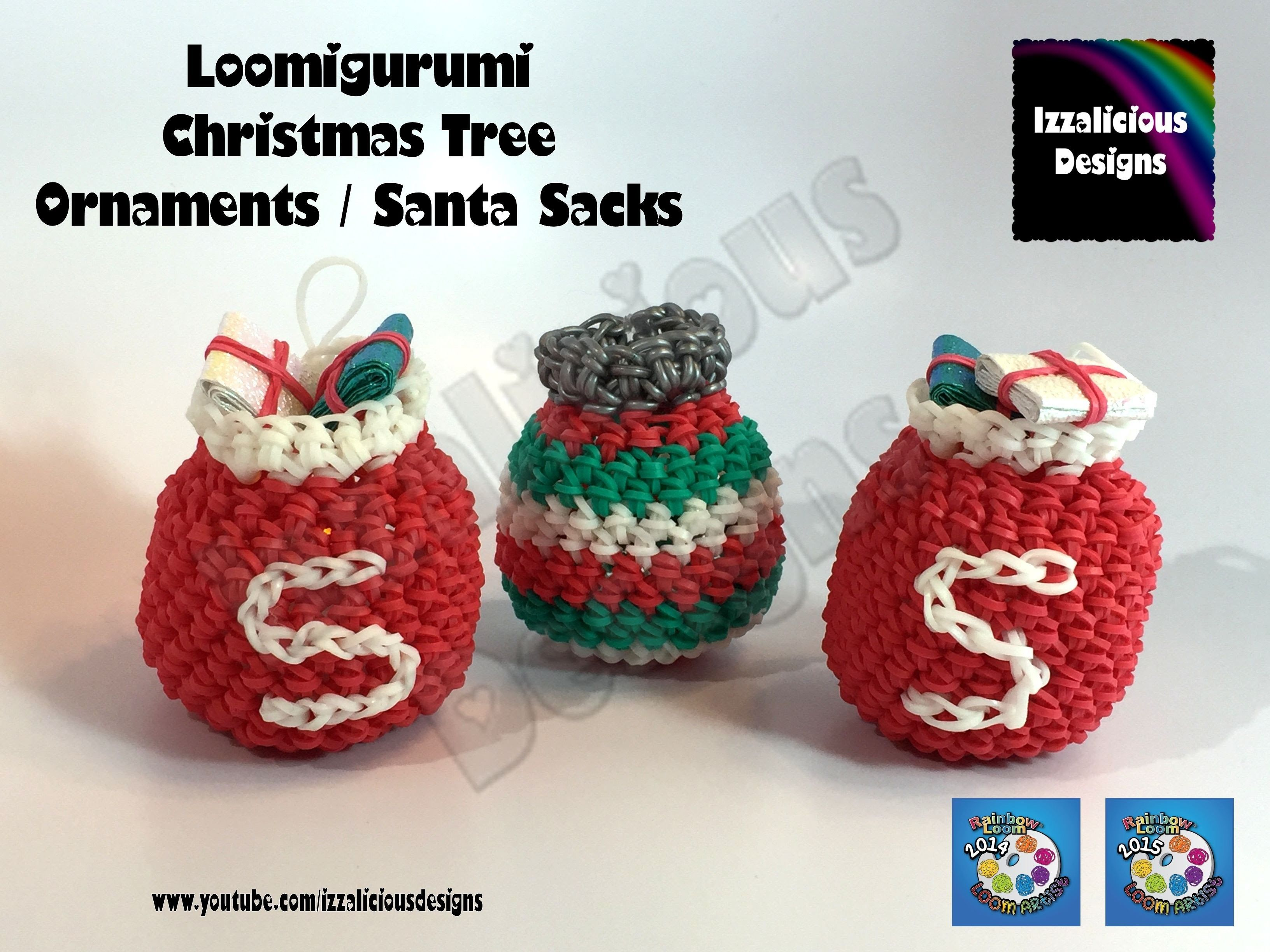 Amigurumi Loom Patterns : Loomigurumi christmas tree ornament santa sack amigurumi w