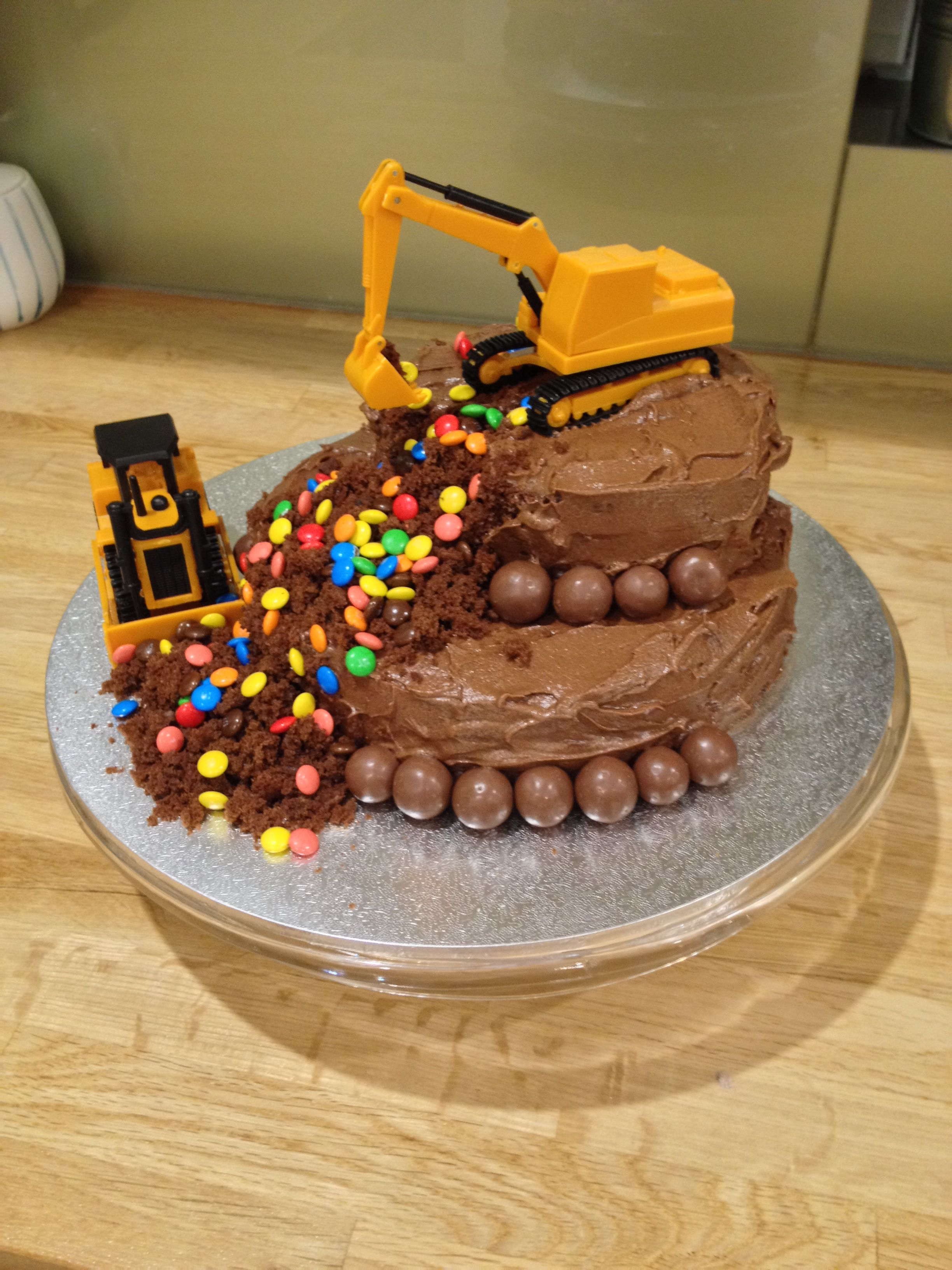 construction theme cake for my 3 year old boy who loves m&ms