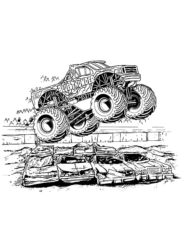 Blue Thunder Monster Jam Coloring Pages Color Luna Monster Truck Coloring Pages Monster Truck Drawing Truck Coloring Pages