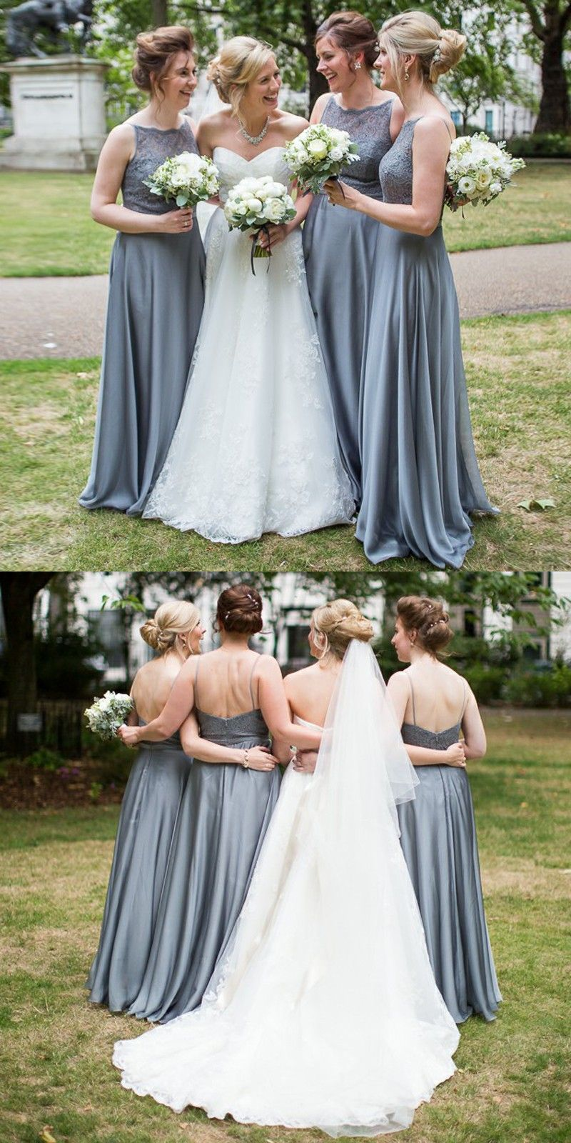 Aline bateau floorlength grey chiffon bridesmaid dress with lace