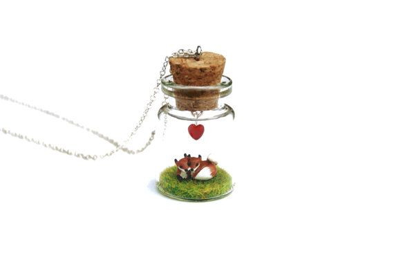 Fox Valentine Necklace - two miniature foxes curled up together in a tiny glass bottle, 16 inch silver plated chain Valentine's Day