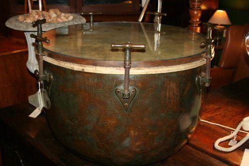 Victorian Copper Kettle Drum Coffee Table Copper