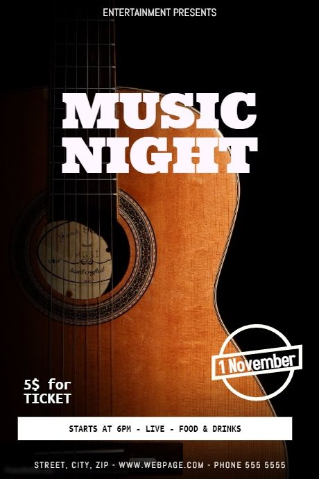 Guitar concert flyer template PosterMyWall Event poster