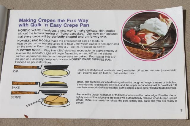 Crepes N Things Vintage Nordicware Pan Instructions Recipes Cookbook Cookbook Recipes Crepes Nordic Ware