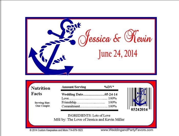 Wedding Candy Bar Wrapper Nautical Anchor Theme Wed 692 Wp Wedding