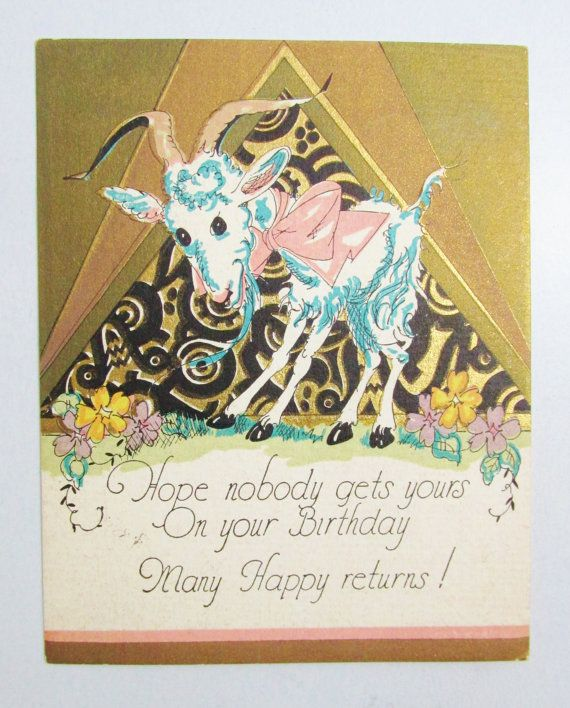 Vintage Birthday Card 1920s Goat by FairSails on Etsy 375 – Goat Birthday Card