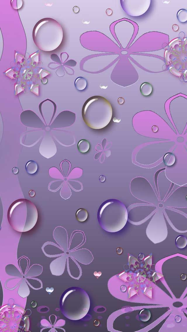 Purple flowers water drops iphone wallpaper paintings for Fond ecran papier