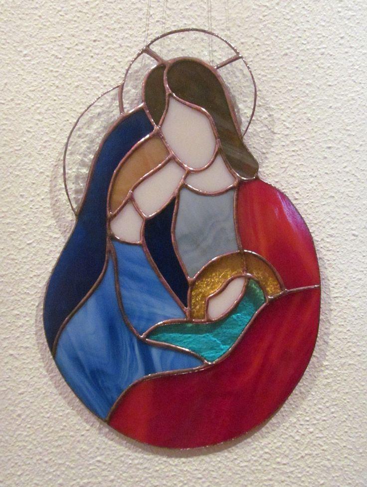 Sainte famille j sus cr che vitrail tiffany artisanal for Decoration fenetre creche