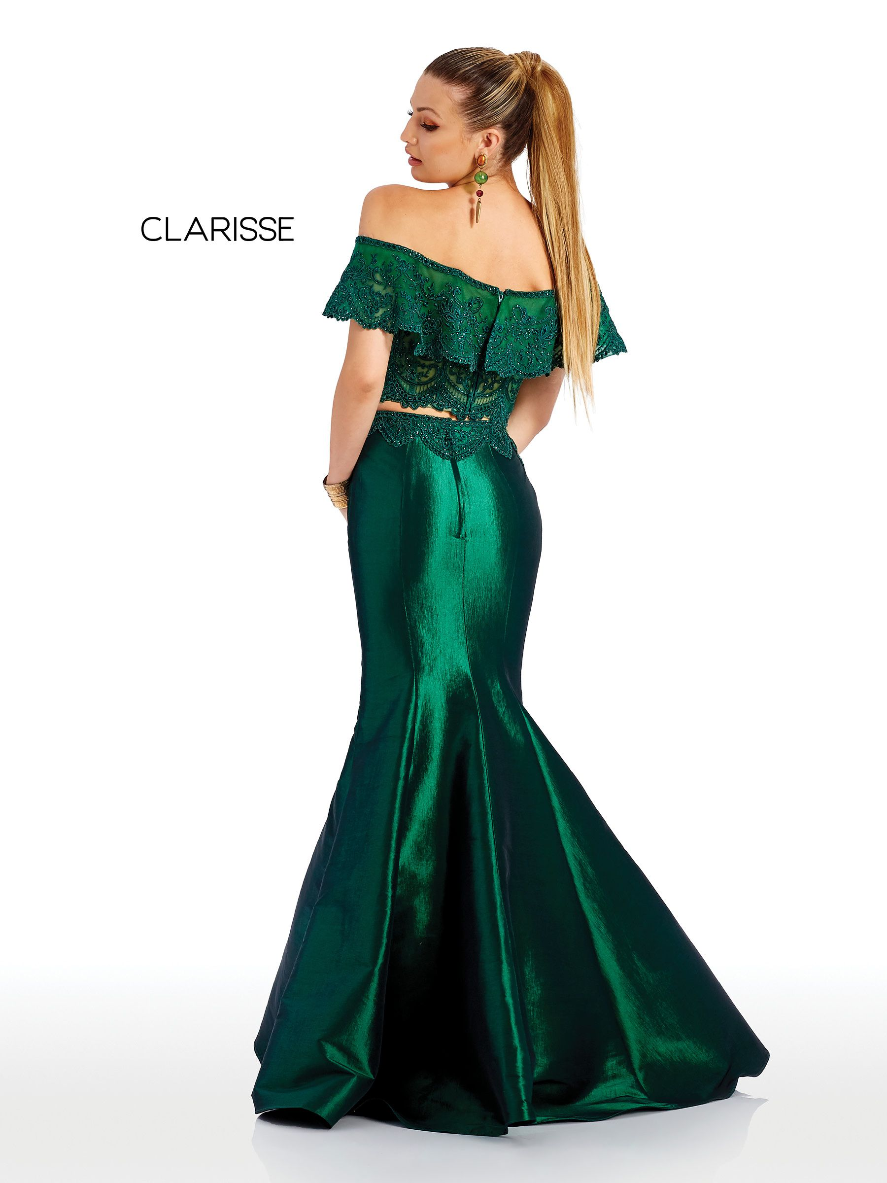 54e9ddbef6e8 4932 - Forest Green two piece trumpet dress with an off the shoulder lace  top