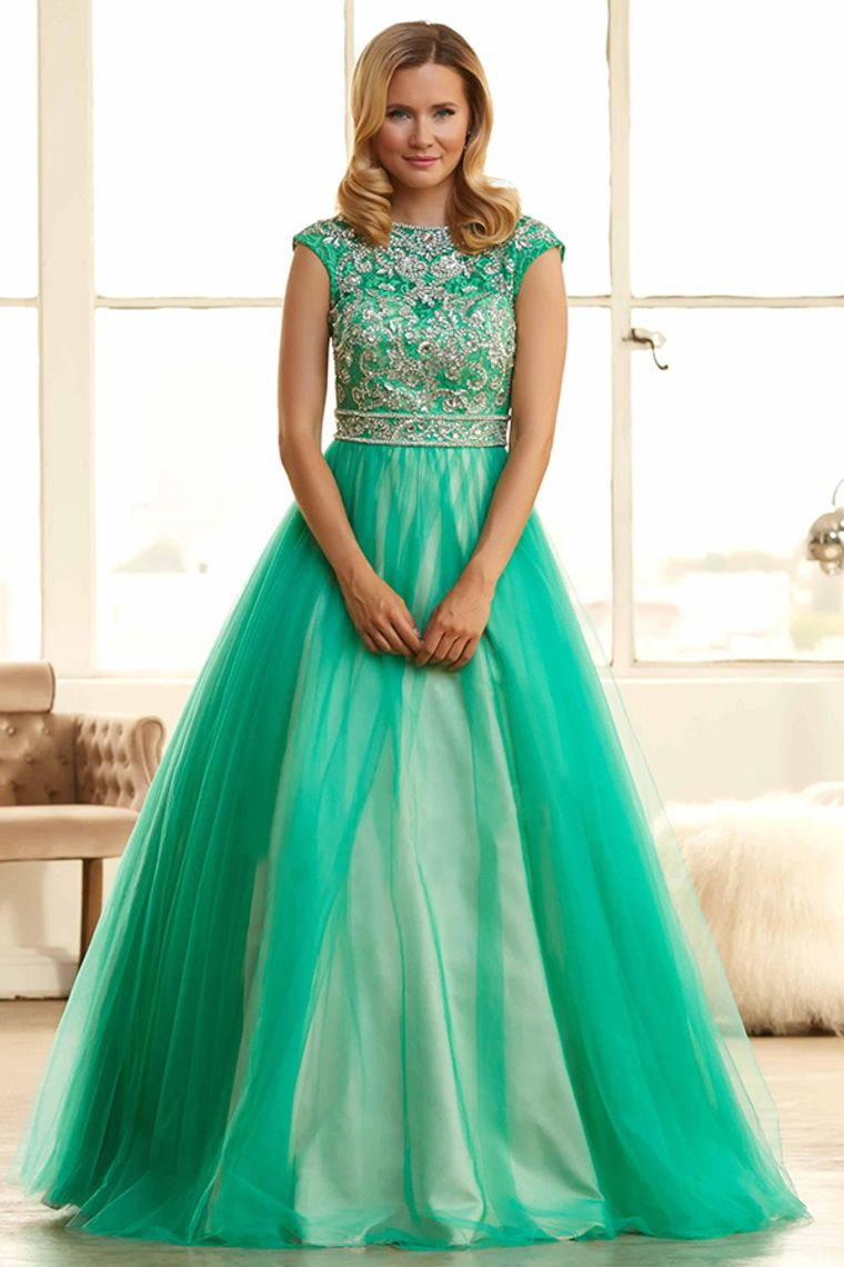 2015 Prom Dresses Bateau Ball-Gown Beaded Lace Bodice With Long ...