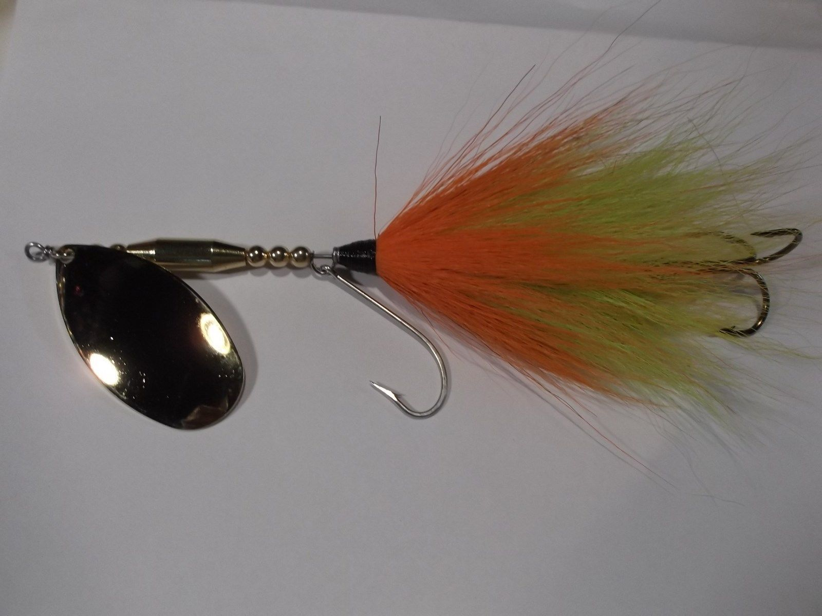 Musky bucktail spinner bait double w magnum 9 gold blade double musky bucktail spinner bait double w magnum 9 gold blade double mustad hooks ebay geenschuldenfo Gallery
