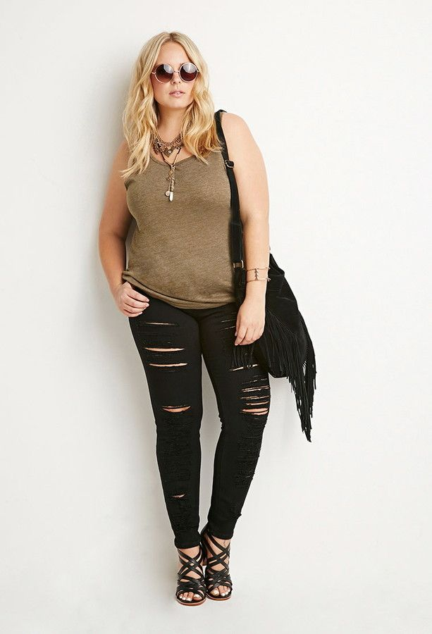 Forever 21 - FOREVER 21+ Distressed Skinny Jeans   Plus ...