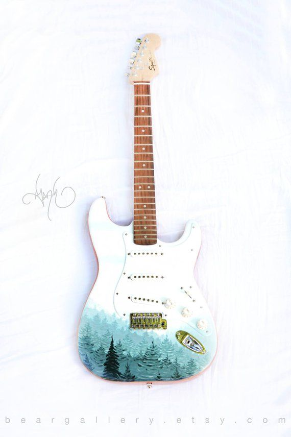 Custom Hand Painted Forest Guitar - Pine Tree Forest Fender Squier Guitar