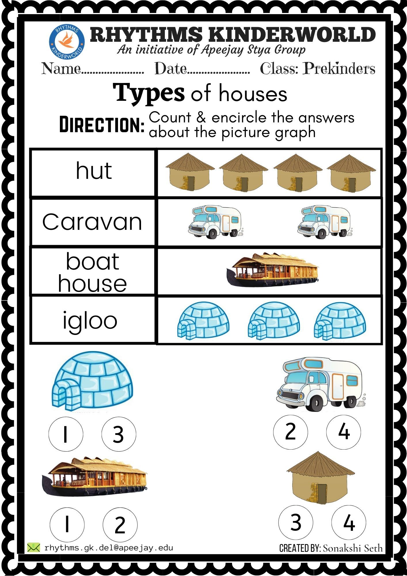 Worksheet On Different Types Of Houses Different Types Of Houses Types Of Houses Picture Graphs