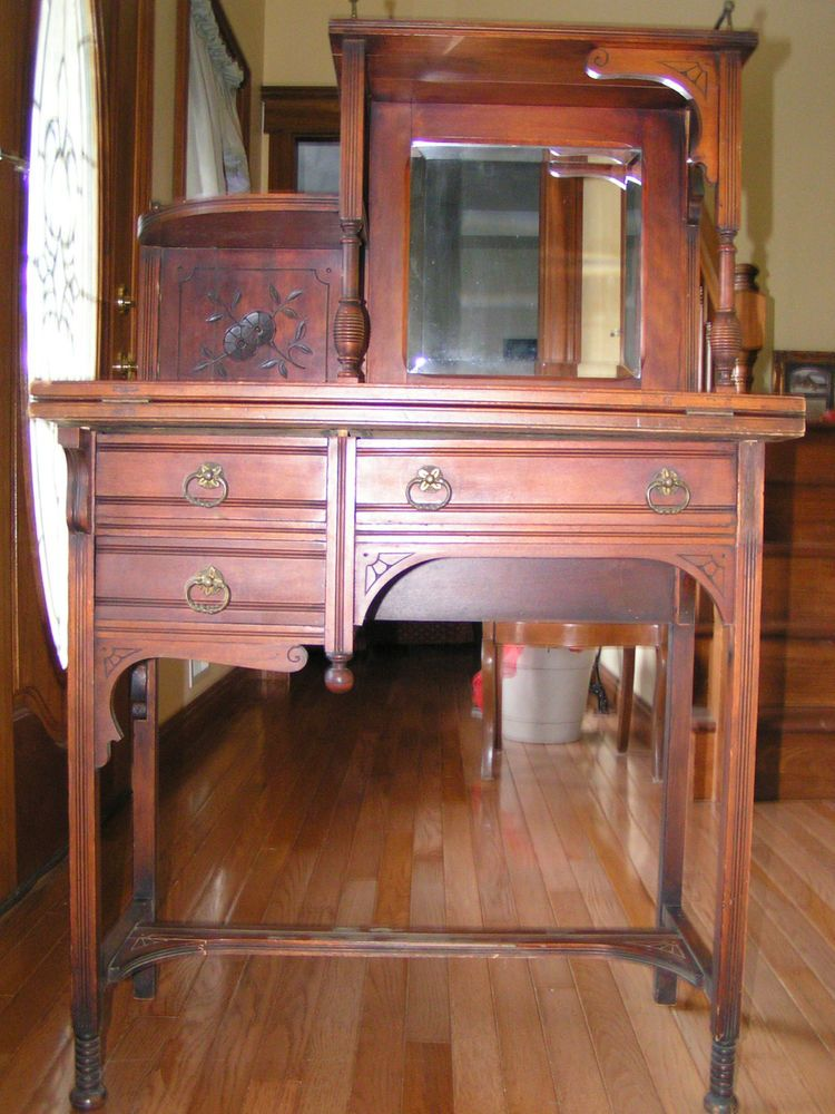 Antique Victorian Childs Mirror Dresser Desk Eastlake