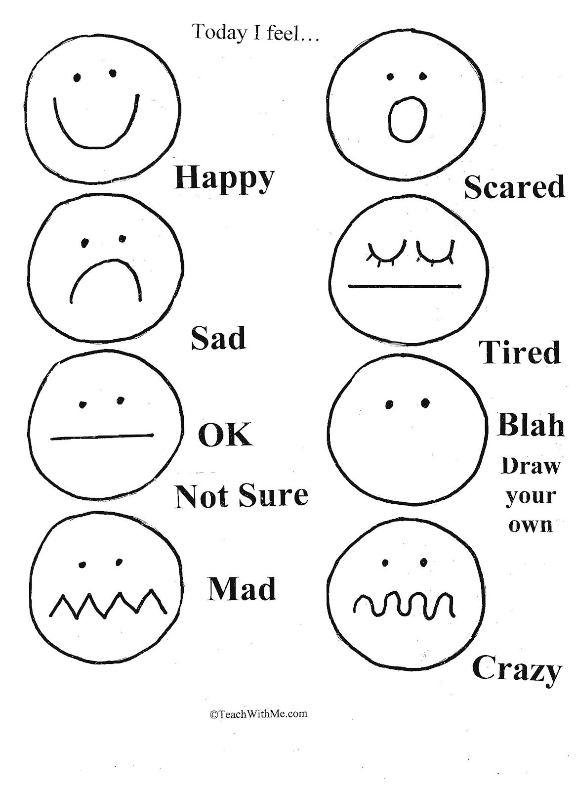 Feelings Emotions Worksheets