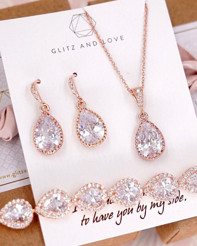 Wedding Earrings Bracelet set Rose gold plated Zirconia Earrings Bracelet Wedding Jewelry Bridal Jewelry Wedding Earrings Bridesmaid Gift