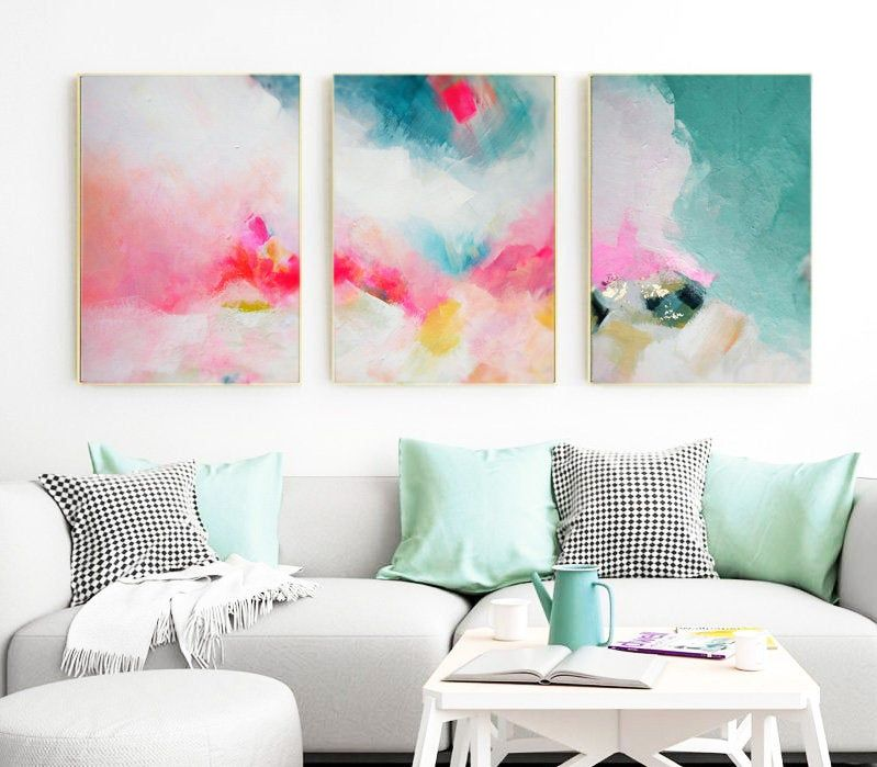 Miami Pink Teal Set Of 3 Abstract Art Prints Home Decor Colorful Tropical Wall Art Oversized Paintings Abstract Art Prints Art Prints Printable Wall Art