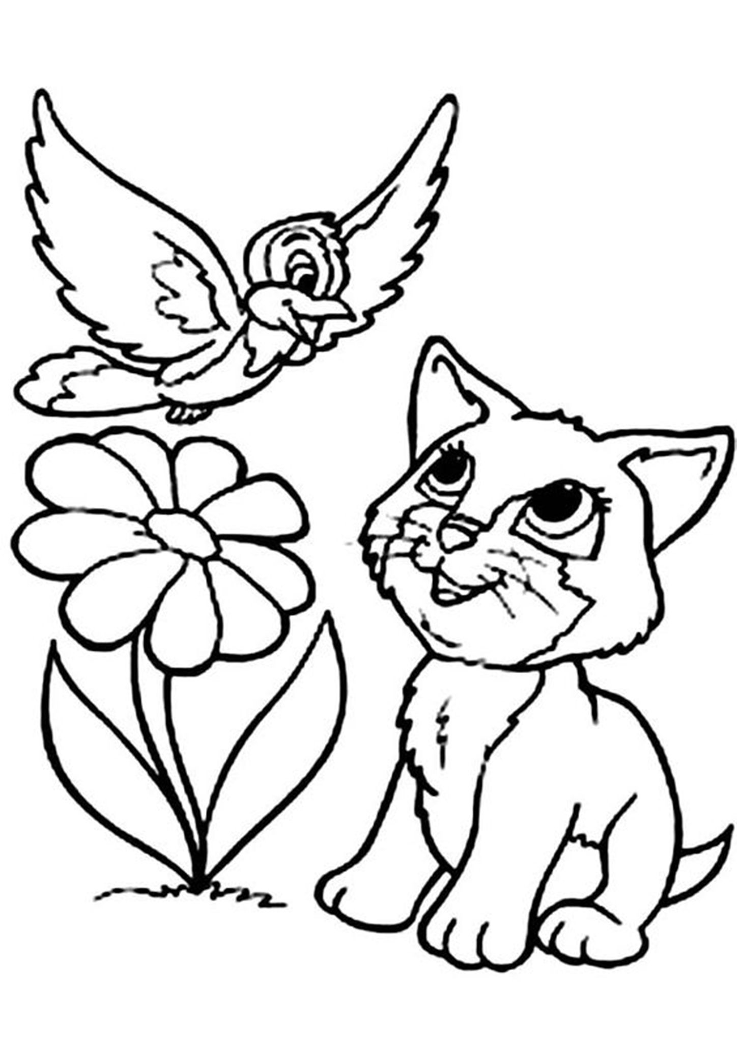 Free Easy To Print Kitten Coloring Pages Bird Coloring Pages Animal Coloring Pages Kittens Coloring