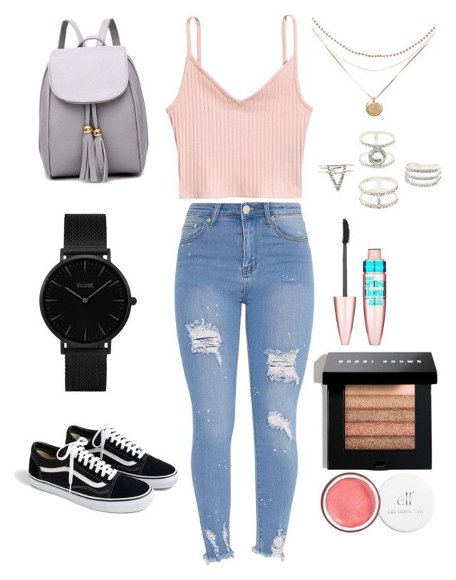 """""""Back to school outfit 2❤️"""" by moesha-spencer on Polyvore featuring J.Crew, CLUSE, Charlotte Russe, Maybelline and Bobbi Brown Cosmetics"""
