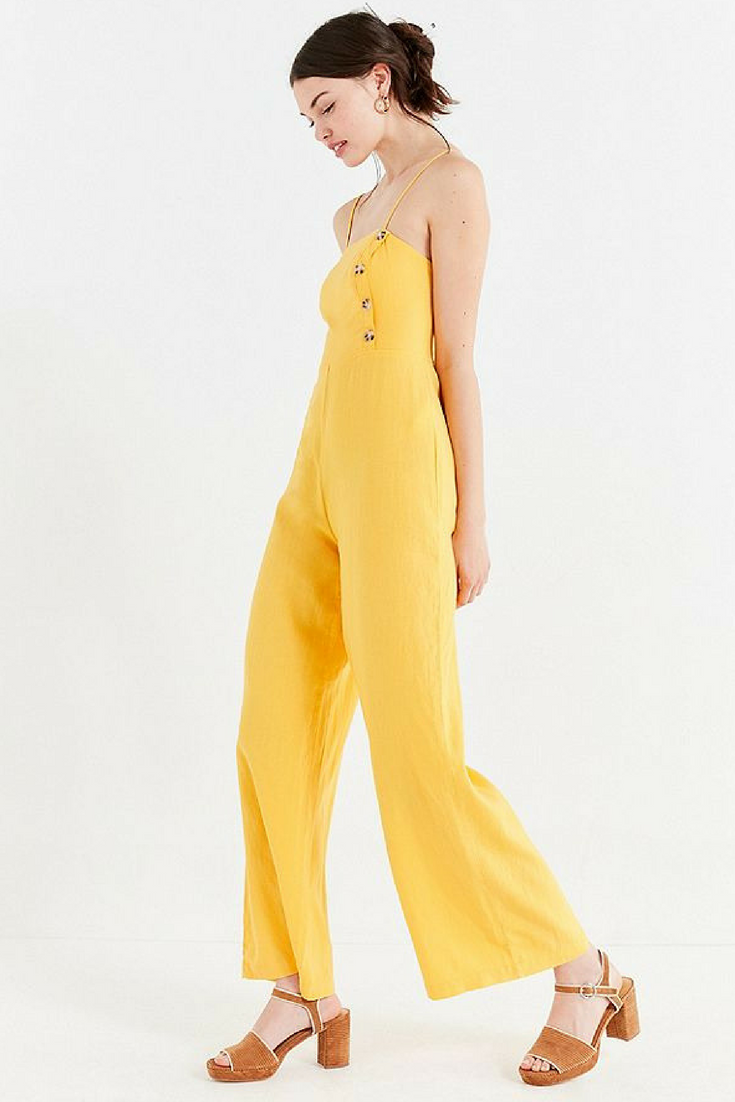 e00fb6b042fd Urban Outfitters UO Straight-Neck Linen Button-Down Jumpsuit Yellow ...
