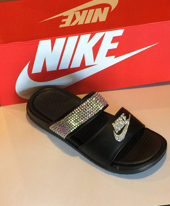 65a48a51c Nike Duo Slides Blinged Out Sandals SWAROVSKI Bedazzled Shoes in ...
