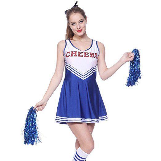 Cheerleader Kostuem Uniform Cheerleading Cheer Leader Mit Pompom Minirock Gogo Damen Maedchen Karneval Fasching Cheerleader Kostum Partyoutfit Karneval