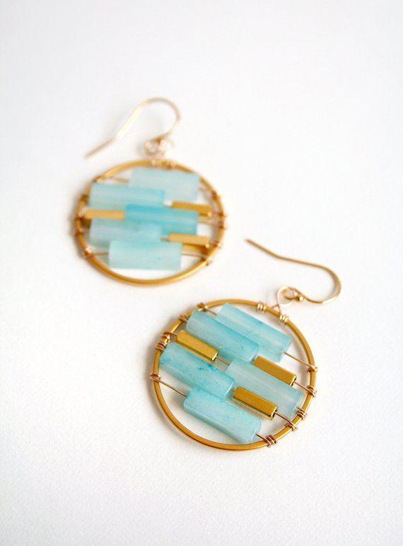 Blue Earrings, Summer Jewelry, Blue Chalcedony, Circle Earrings