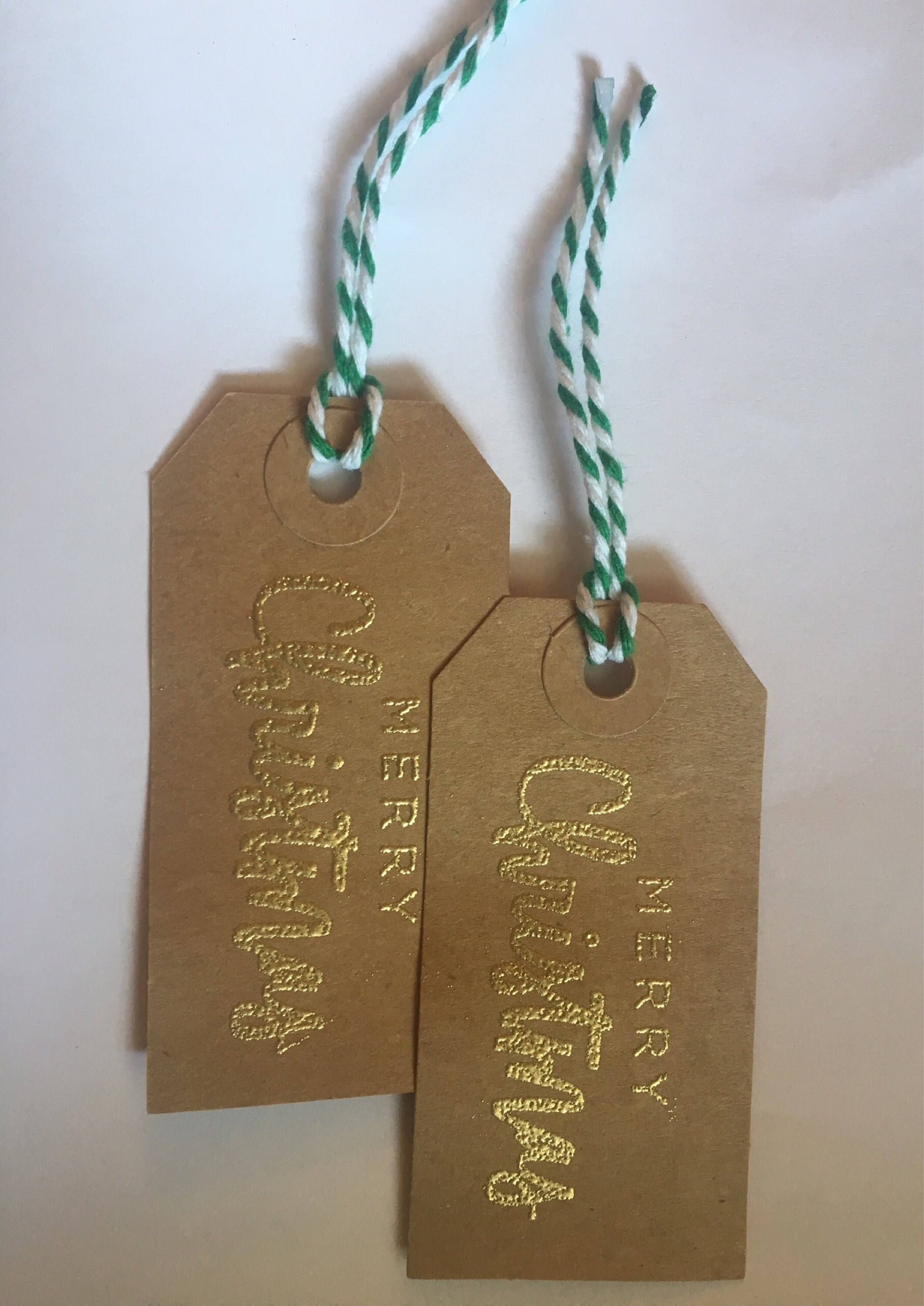 Gold embossed merry christmas gift tags gift tags