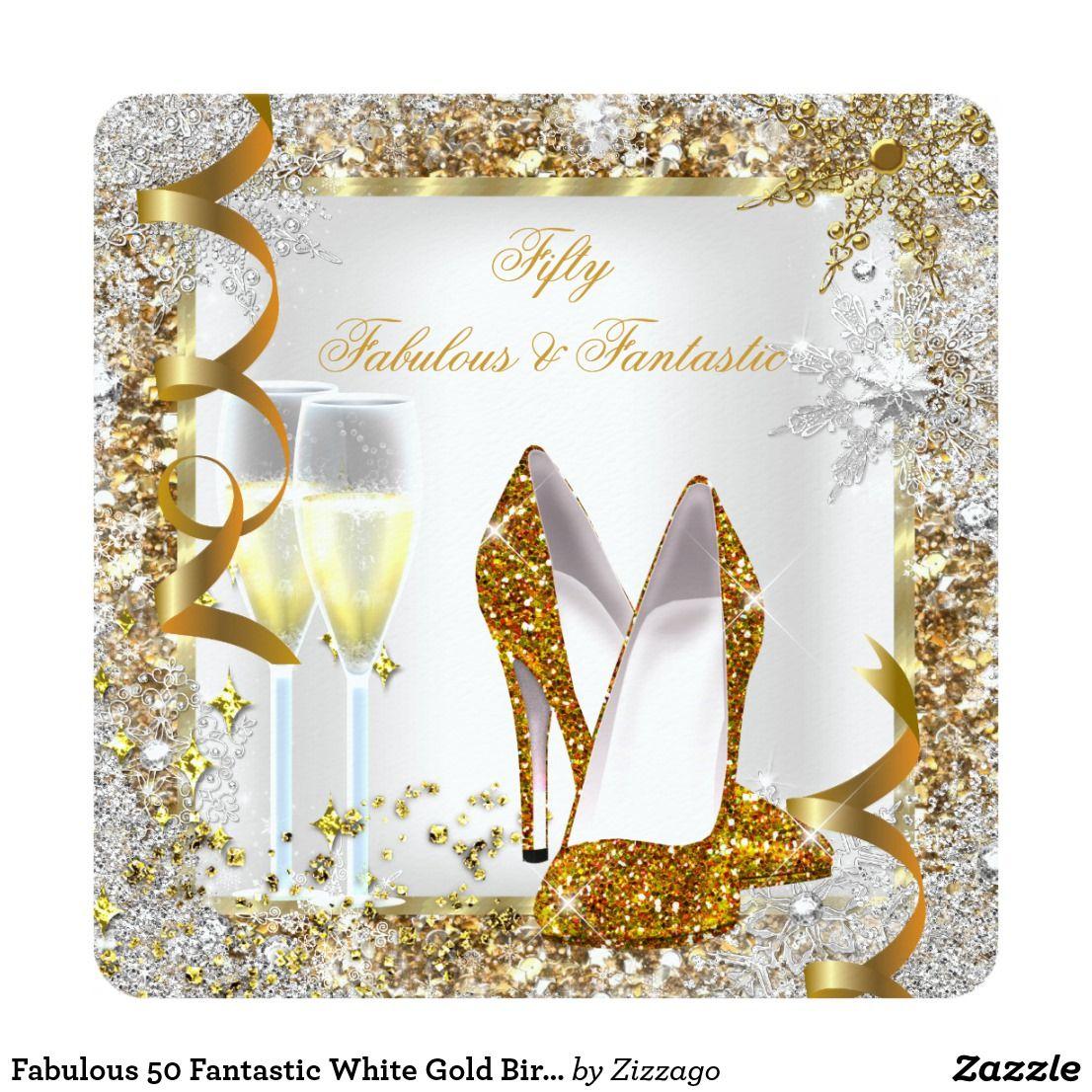Fabulous 50 Fantastic White Gold Birthday Party Invitation
