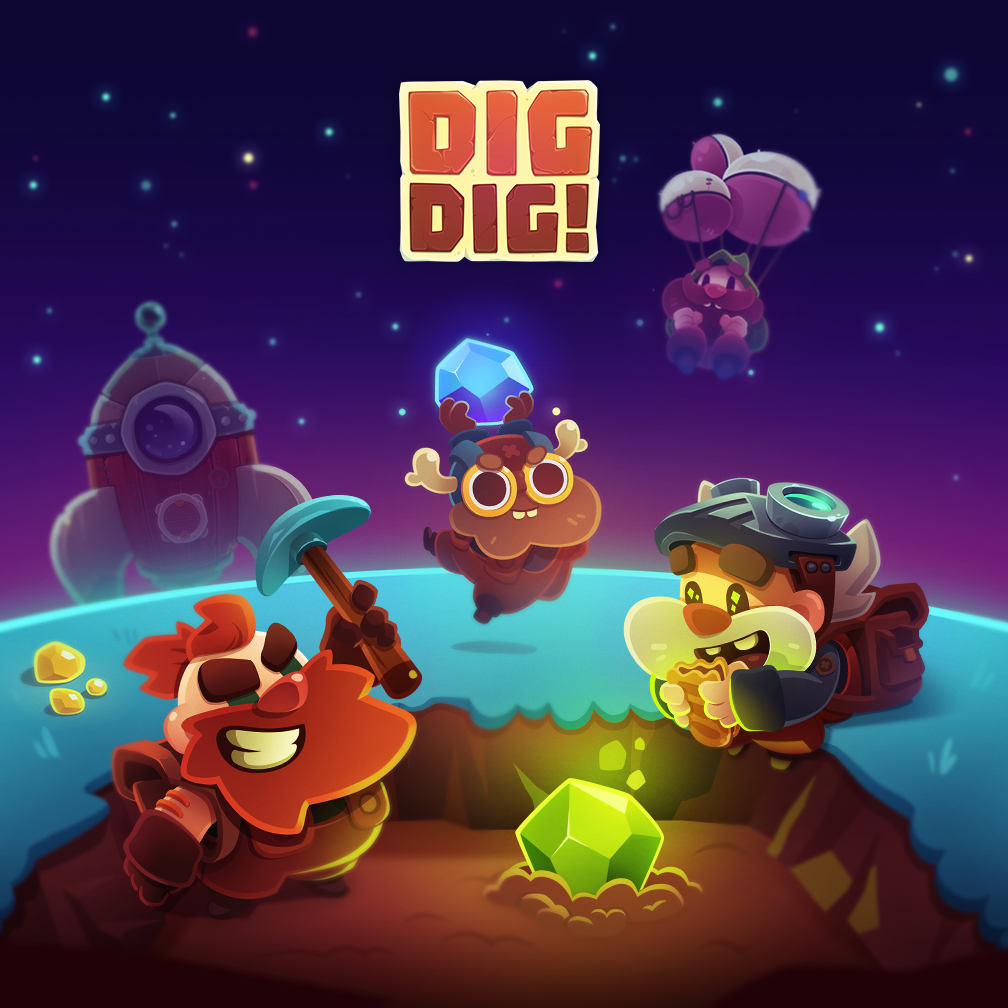 Work I did for Dig Dig! by Bee Square GamesDig Dig! is an idle space fantasy game with RPG mechanics where you control the last dwarf mining station in the universe to work for all kind of weirdos  customers.
