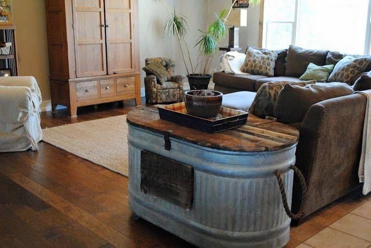 Old Washtub With Pallet Wood Lid On Hinges As End Table Love