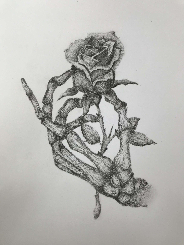 Skeleton Hand Holding Rose Rose Skeleton Drawing Art Sketches Art Drawings Sketches Drawings