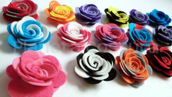 6 Flores fieltro 2 colores grandes / Planeta Costura - Artesanio