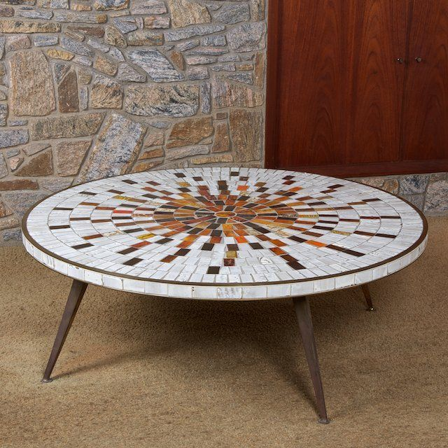 1438 MidCentury Modern bonze and mosaic tile coffee t on Mid