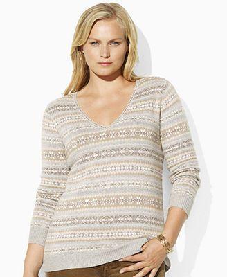 Lauren by Ralph Lauren Plus Size Sweater, Kenosha Long Sleeve Fair ...