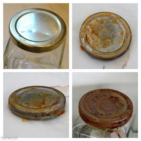 make new jar lids look old easy rusting process soak the lid in vinegar about an h old. Black Bedroom Furniture Sets. Home Design Ideas