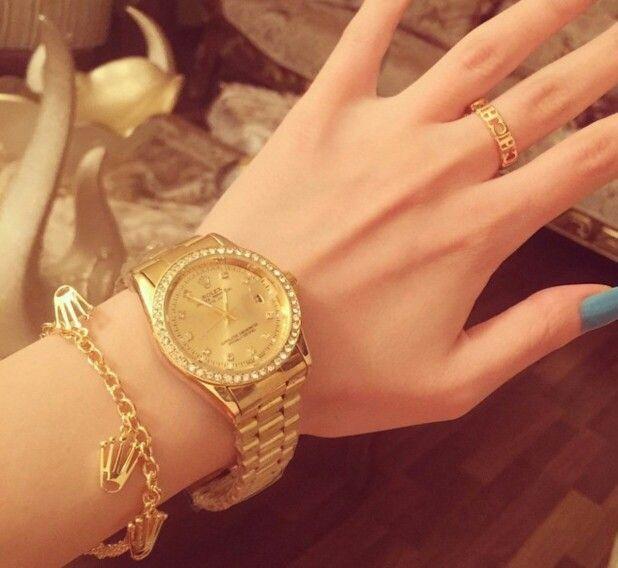 ساعه رولكس مع الاساور وخاتم 350 ريال Gold Watch Accessories Gold
