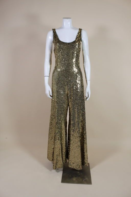 ae4ab0c3cf9a 1970 s Chloé Gold Sequined Lurex Disco Jumpsuit.