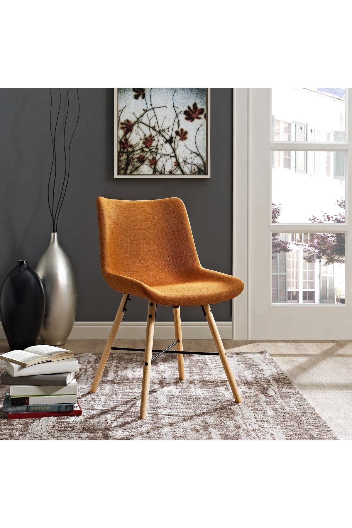 Walker Edison Furniture Company   Upholstered Linen Orange Side Chair   Set  Of 2 Is Now