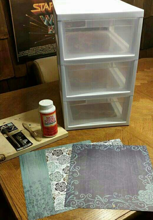 Supplies 3 Sterilite Stackable Drawers 3 Sheets Of Scrapbook Paper