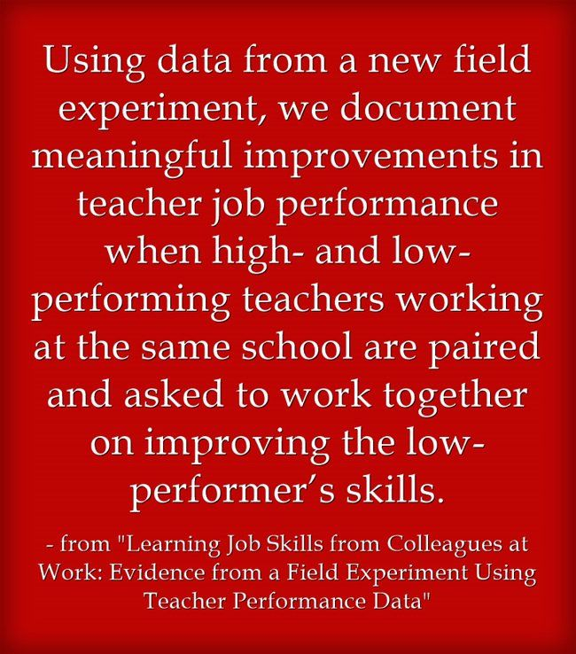 """""""Learning Job Skills from Colleagues at Work: Evidence from a Field Experiment Using Teacher Performance Data"""" is the title of a new study by John P. Papay, Eric S. Taylor, John H. Tyler, Mary Lask..."""