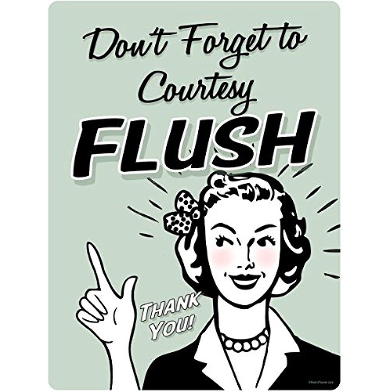 Courtesy Flush Funny Bathroom Wall Decal 12 X 16 More