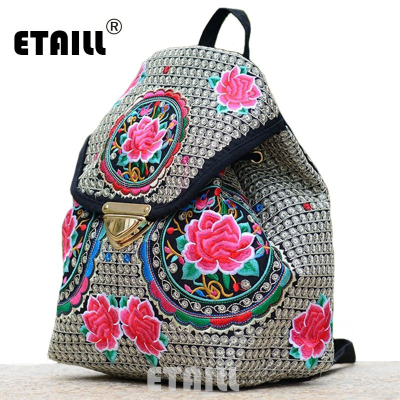 0cde72eb298c Ethnic Flower Embroidery Backpacks National Wind Personality Boho Thai Embroidered  Canvas Drawstring Travel Bags Sac a Dos Femme