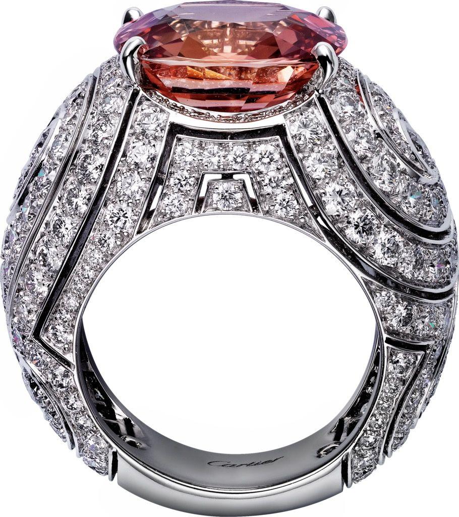 Cartier ring platinum one carat cushioncut padparadscha