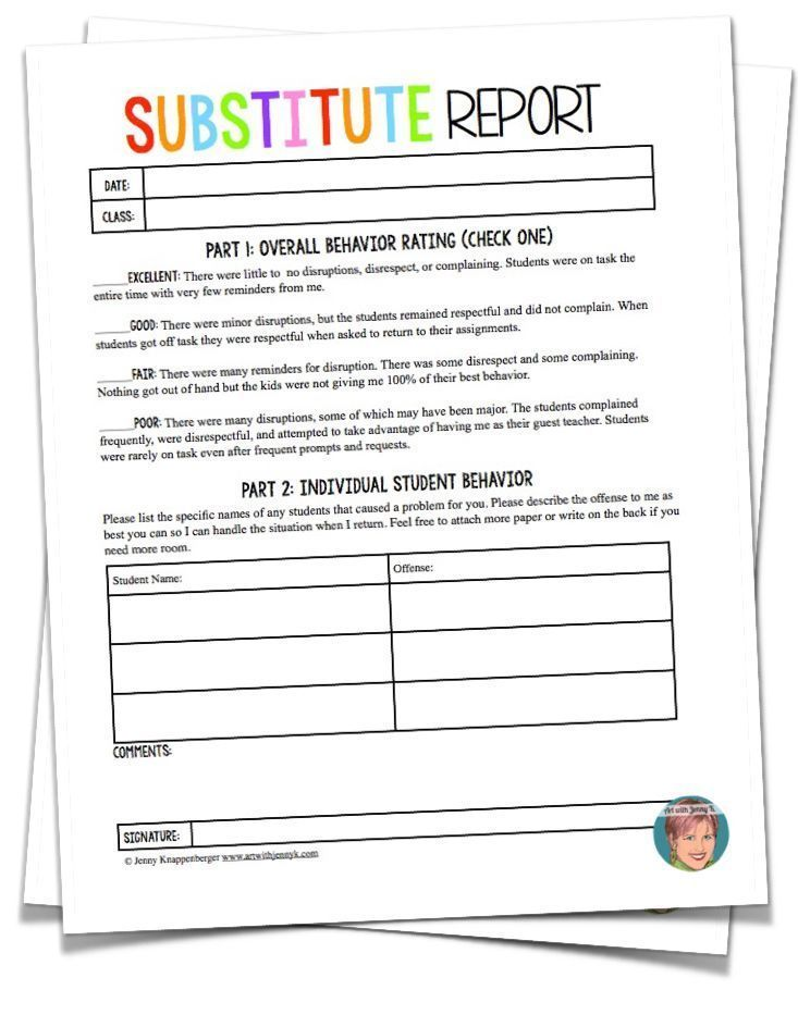 Teachers - you will love using this FREE substitute report when - staff report