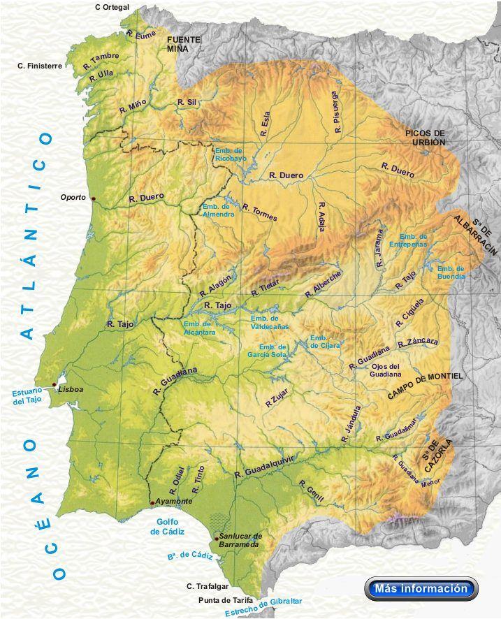 Mapa Fisico Peninsula Iberica Rios.Rios De La Vertiente Atlantica Geografia Fisica