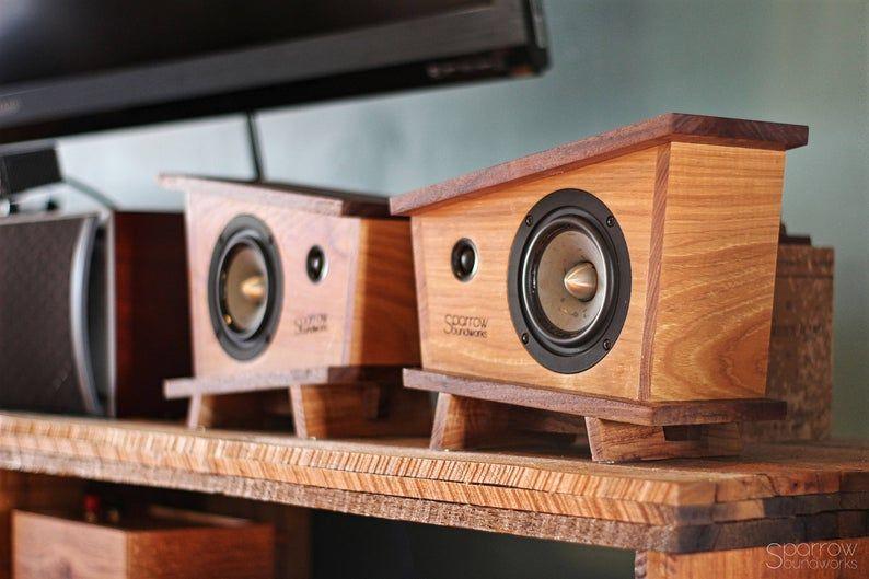 Handmade Black Walnut Hickory Wood Bookshelf Speakers Pair Etsy In 2020 Diy Bookshelf Speakers Wood Speakers Wood Bookshelves